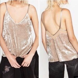 Zara Collection Crushed Velvet Camisole Top